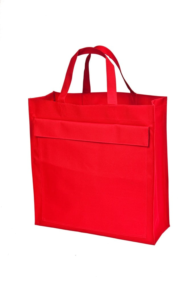 Mulepose rød med logo