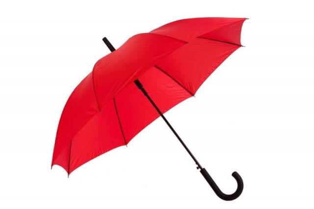 rød paraply med logo