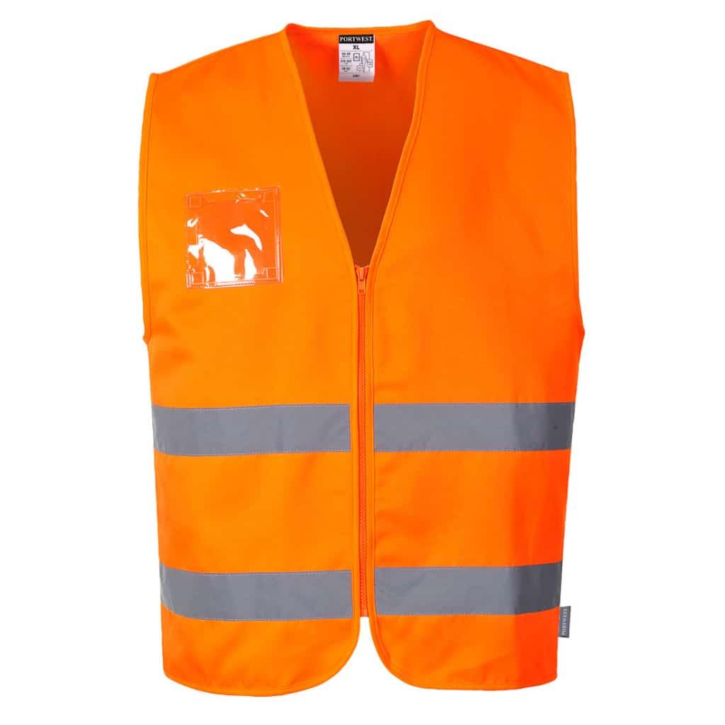 Orange sikkerhedsvest med lynlås