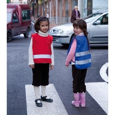 børneveste blå rød med refleks tryk