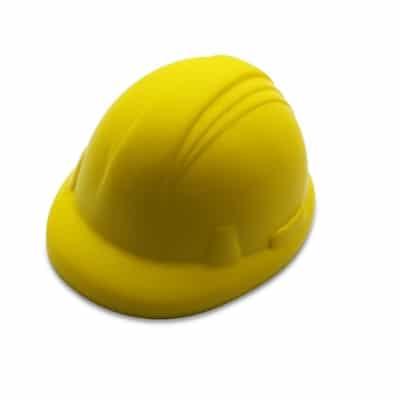 Stressbolde arbejdshjelm gul med tryk