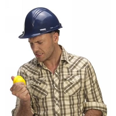 Stressbolde arbejdshjelm gul med logo