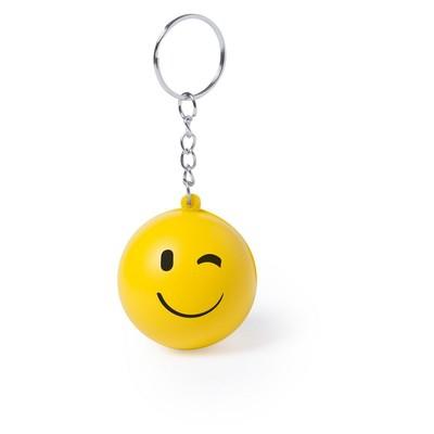 Stressbold smiley nøglering