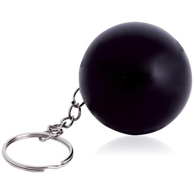 sort stressbold med logo nøglering