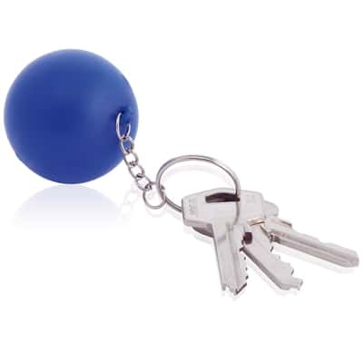 blå stressbold med logo nøglering