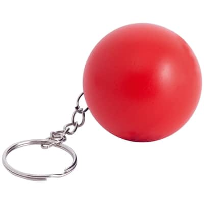 rød stressbold med logo nøglering