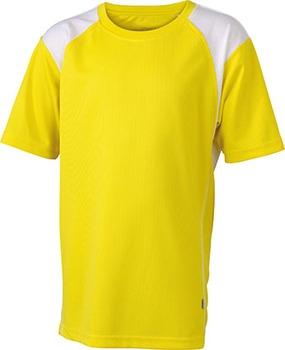 Løbe T-shirt til børn - gul med logo